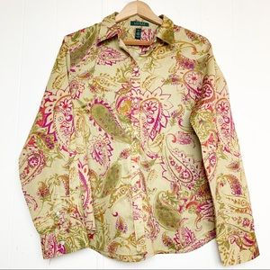 Lauren Ralph Lauren Paisley Print Button Up Blouse